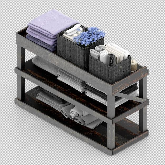 Toalhas em um rack de madeira Psd Premium
