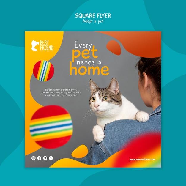 Todo animal de estimação precisa de um panfleto quadrado em casa Psd grátis