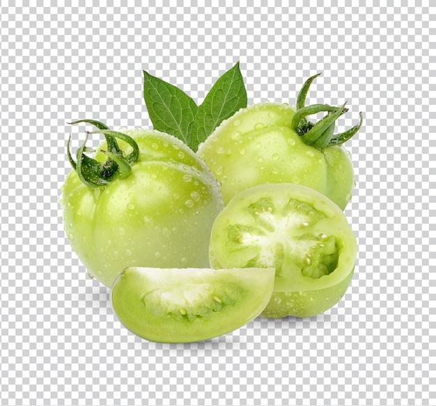 Tomates verdes frescos com folhas Psd Premium