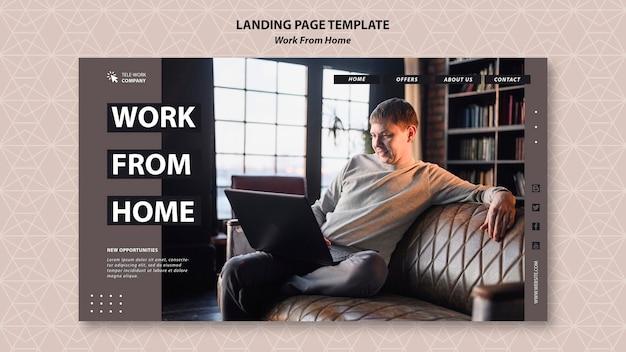 Trabalhar no modelo de página de destino do conceito em casa Psd grátis