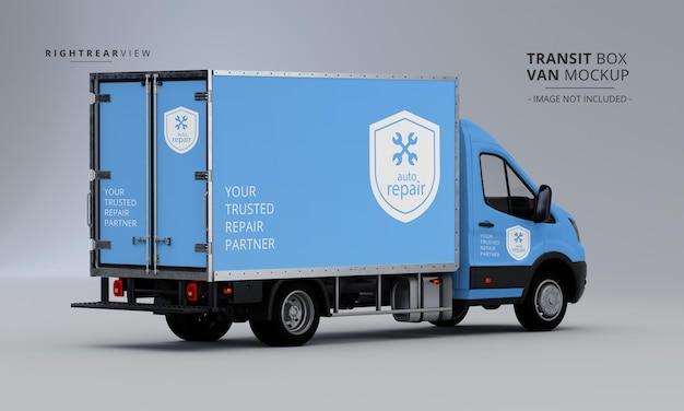 Transit box van mockup vista traseira direita Psd Premium