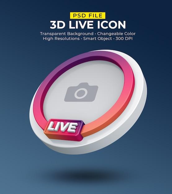 Transmissão ao vivo de avatar de ícone de mídia social 3d Psd Premium