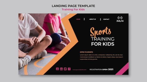 Treinamento para crianças no design da página de destino Psd grátis