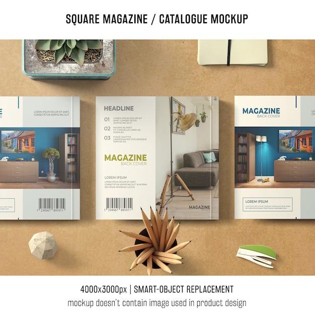 Três maquetes quadradas de revistas ou catálogos Psd grátis