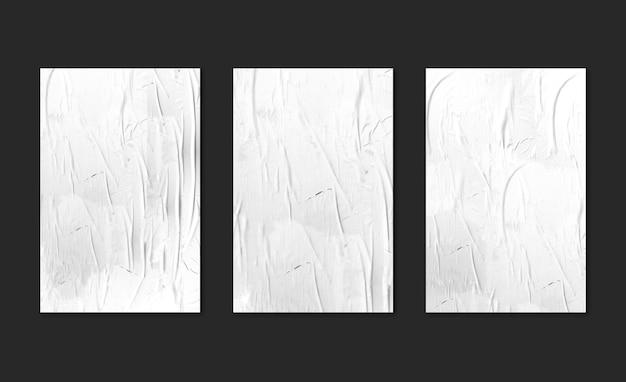 Três pôsteres brancos no modelo de fundo preto Psd grátis