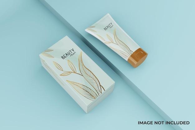 Tubo cosmético minimalista mutável e design de maquete de caixa Psd Premium