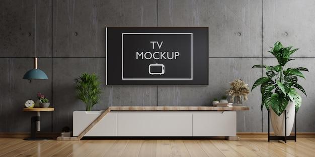 Tv no gabinete na sala de estar moderna parede de concreto, renderização em 3d Psd Premium