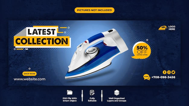 Último modelo de capa do facebook da promoção da coleção Psd Premium