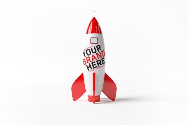 Uma maquete de um foguete vermelho sobre branco Psd Premium