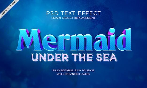 Uma sereia sob o efeito do texto marítimo Psd Premium