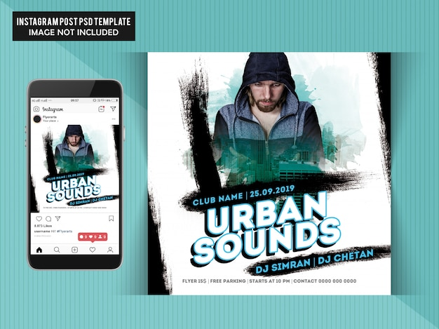 Urban sounds party flyer Psd Premium