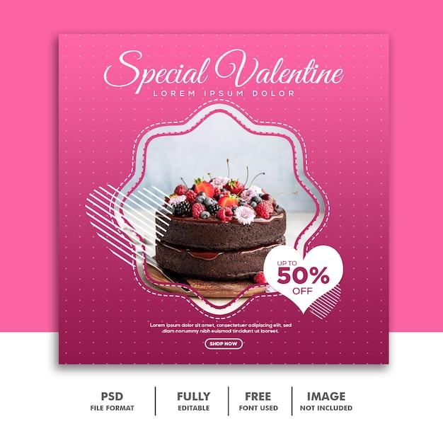 Valentine banner social media post instagram Psd Premium