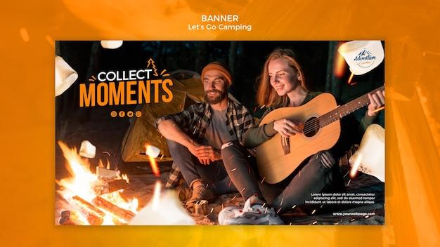 Vamos acampar banner com foto Psd grátis