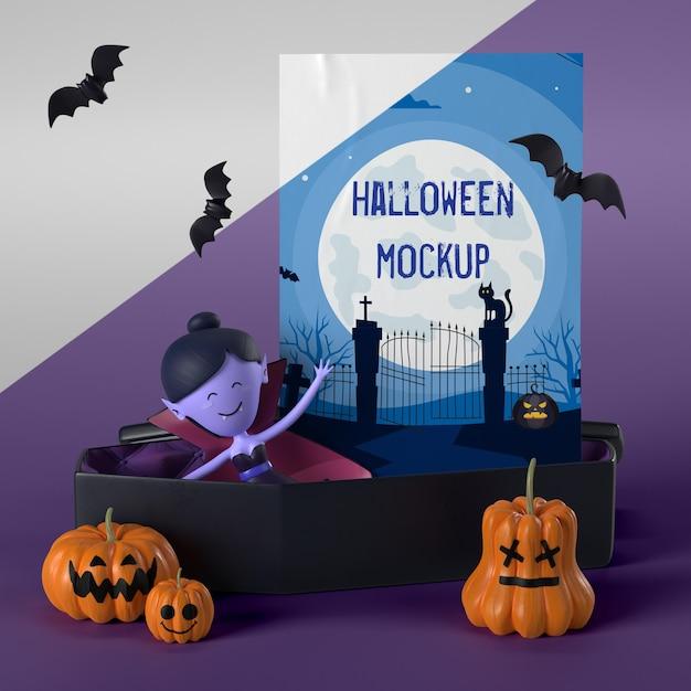 Vampiro em caixão próximo a maquete de cartão de halloween Psd grátis