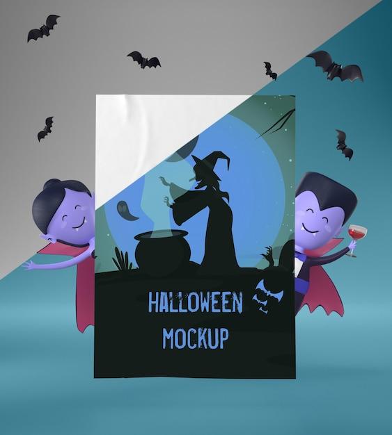 Vampiros segurando uma maquete de cartão de halloween Psd grátis