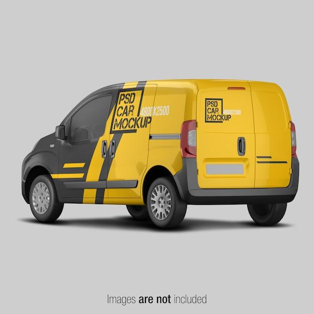 Van de entrega amarelo e preto mockup Psd Premium