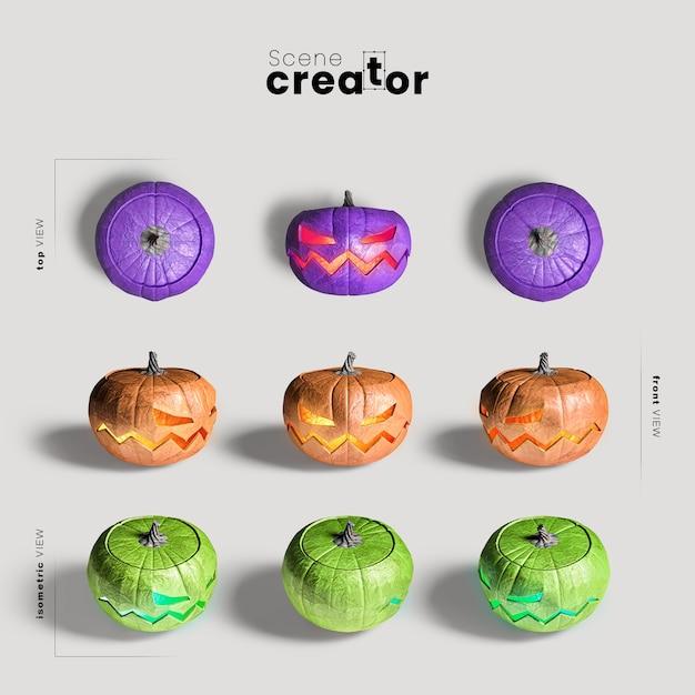 Variedade de abóbora esculpida de ângulos criador de cena de halloween Psd grátis