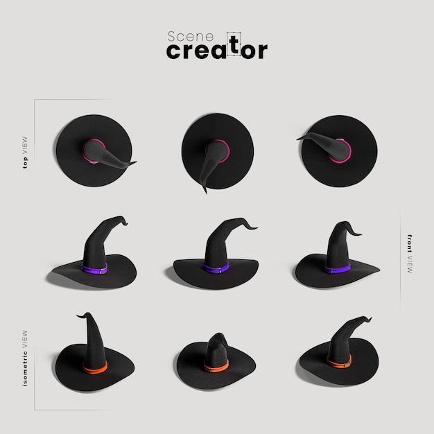 Variedade de chapéu de bruxa de ângulos criador de cena de halloween Psd grátis