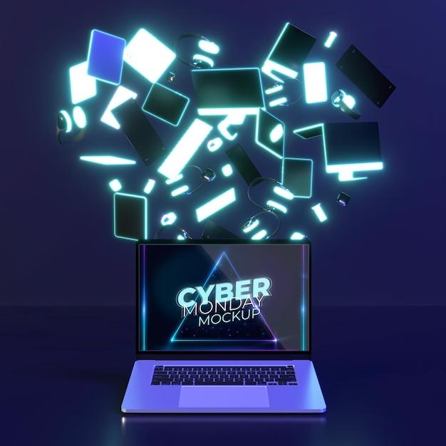 Variedade de cyber monday com mock-up de laptop Psd grátis