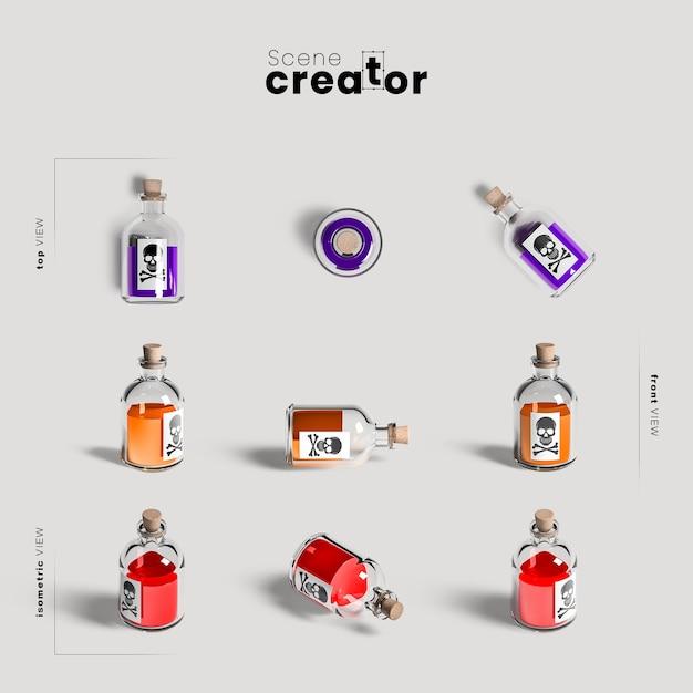 Variedade de garrafa de veneno de ângulos criador de cena de halloween Psd grátis