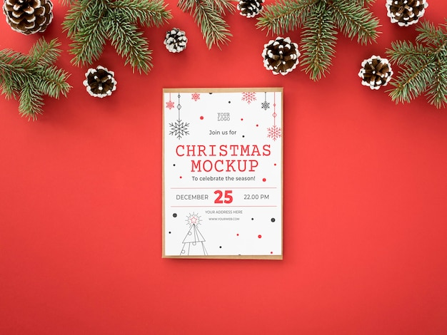 Variedade de véspera de natal com cartão Psd grátis