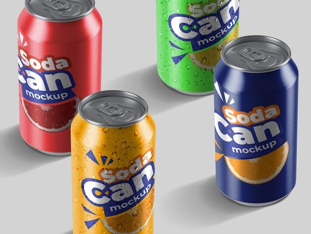 Variedade realista de alto ângulo de modelo de maquete de latas de refrigerante de alumínio Psd Premium