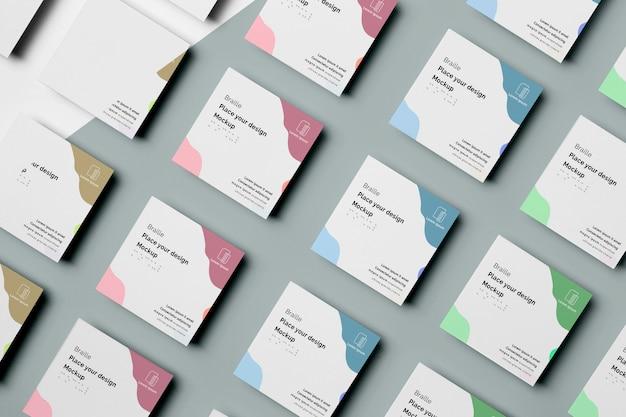 Vários cartões de visita com design braille Psd grátis