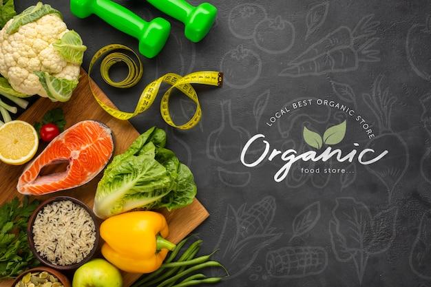 Vegetarianos doodle fundo com comida saudável e halteres Psd grátis