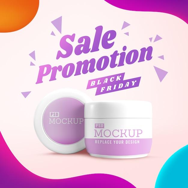Venda de cosméticos black friday com maquete do frasco Psd Premium