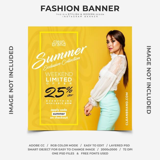 Venda de fim de semana de verão moda desconto instagram banner Psd Premium