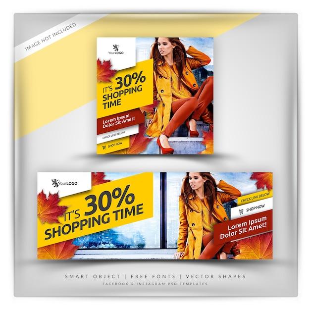 Venda de outono instagram e facebook banner Psd Premium