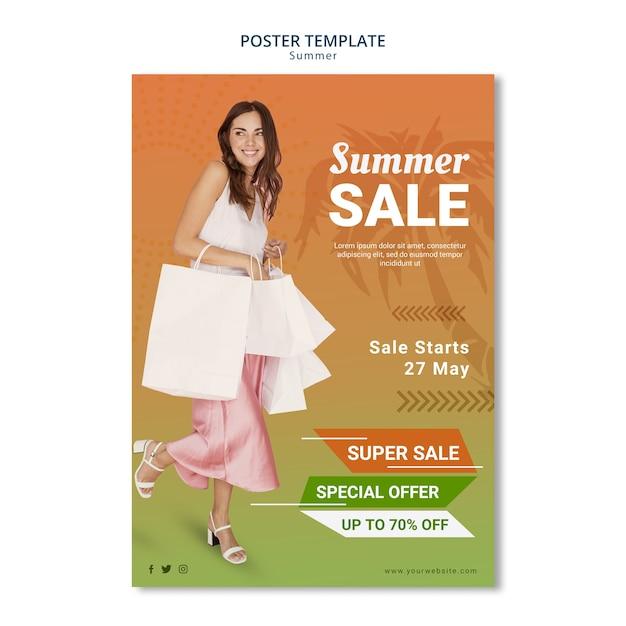 Venda de verão de design de modelo de cartaz Psd grátis