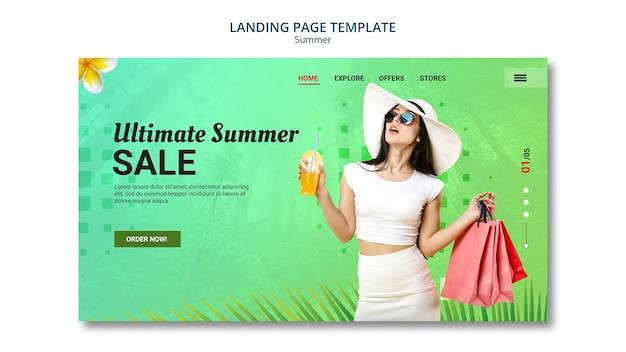 Venda de verão de design de página de destino Psd grátis