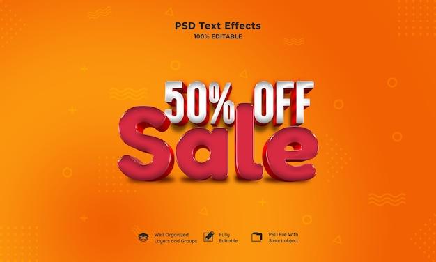 Venda efeito de texto 3d Psd grátis
