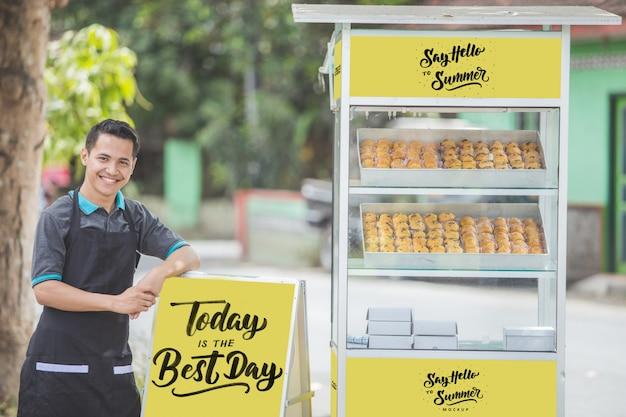 Vendedor de barraca de comida de homem com maquete em branco Psd Premium