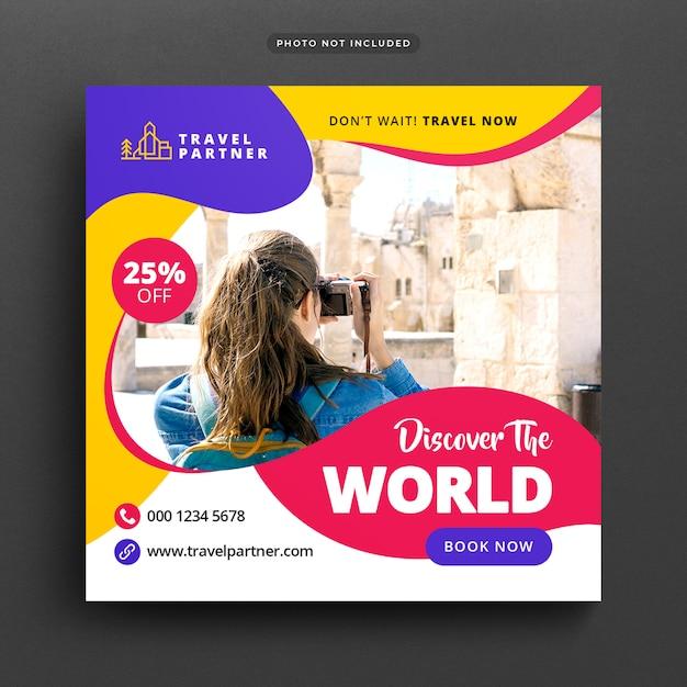 Viagens férias férias post banner ou modelo Psd Premium
