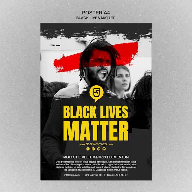 Vida negra minimalista importa cartaz com foto Psd grátis