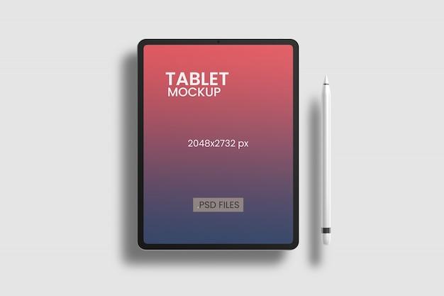 Vista de ângulo superior de maquete de tablet Psd grátis