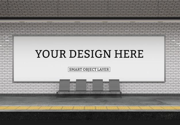 Vista de um modelo de outdoor de metrô Psd Premium