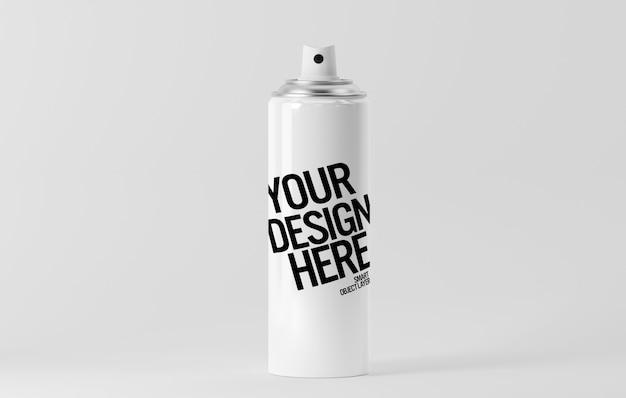 Vista de uma maquete de lata de aerossol Psd Premium