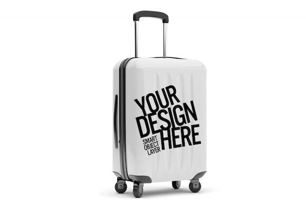 Vista de uma maquete de malas de viagem Psd Premium