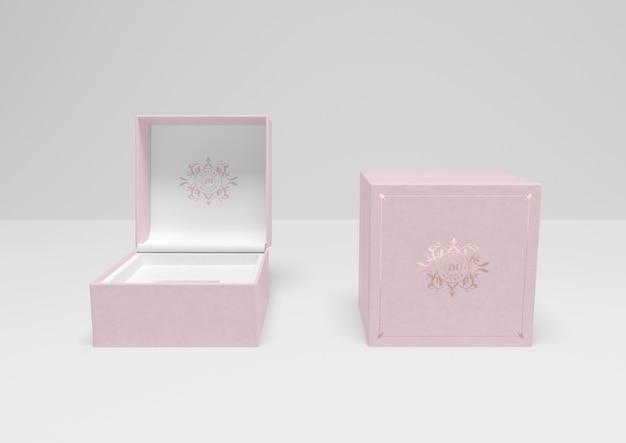 Vista dianteira, de, cor-de-rosa, caixas jóia Psd grátis