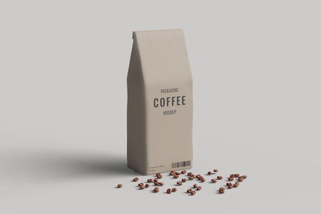 Vista do ângulo esquerdo da maquete do saco de café com grãos de café Psd Premium