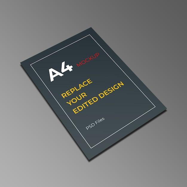 Vista em perspectiva de maquete a4 Psd Premium