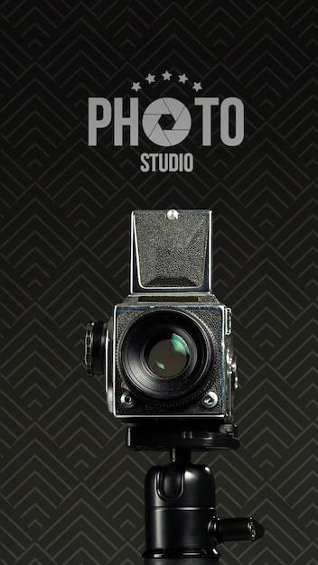 Vista frontal da câmera para estúdio fotográfico Psd grátis