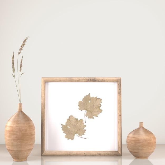 Vista frontal da decoração de quadros com vasos e flores Psd grátis