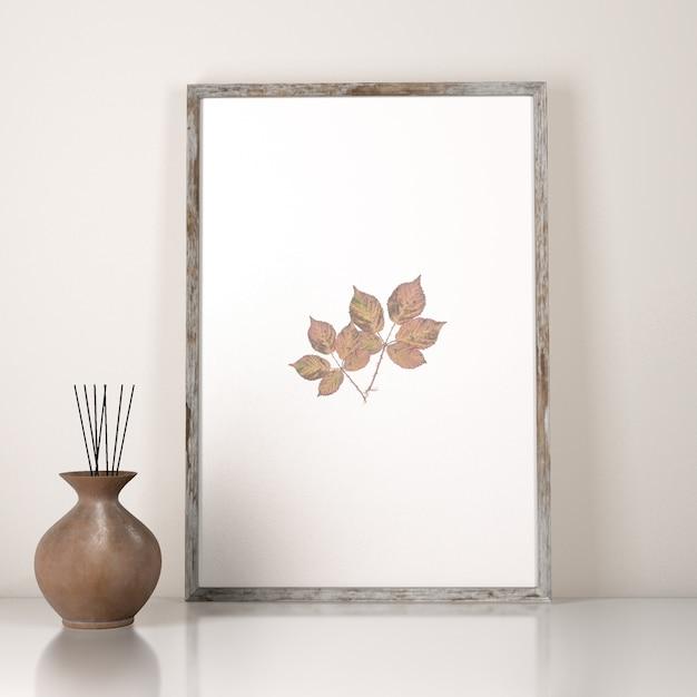 Vista frontal da decoração do quadro com vaso Psd grátis