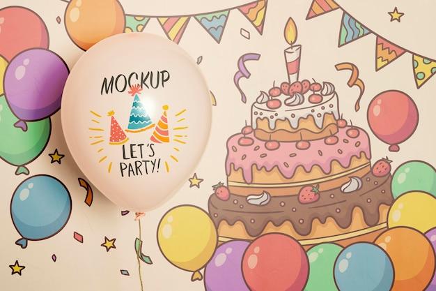 Vista frontal da maquete de balões de festa Psd grátis
