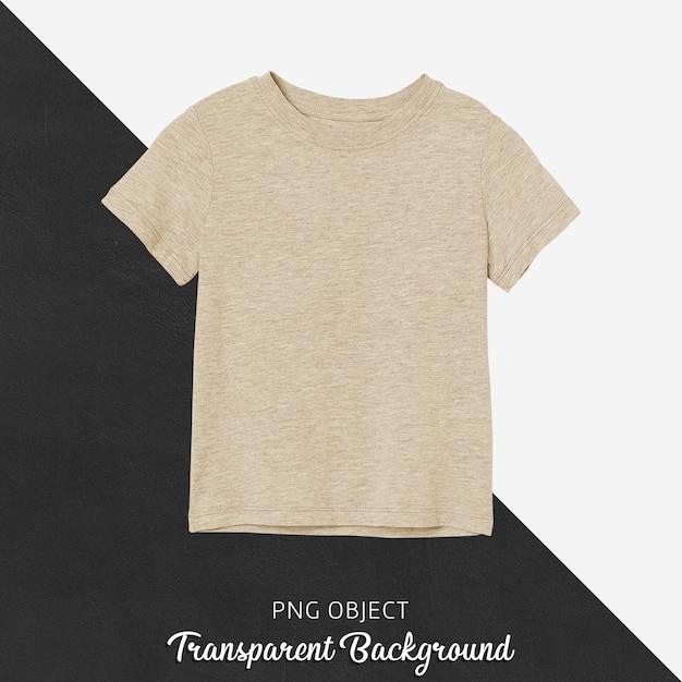 Vista frontal da maquete de camiseta infantil básica bege Psd Premium
