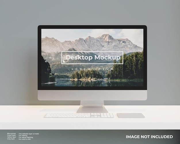 Vista frontal da maquete de desktop Psd grátis